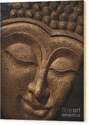Buddha Wood Print by Elena Nosyreva