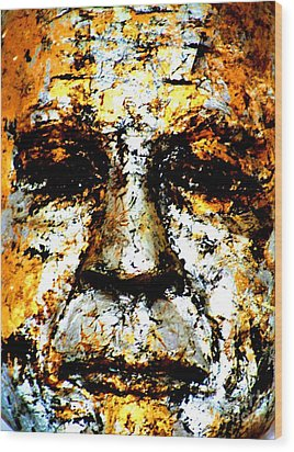 Buddha Face Wood Print by Nola Lee Kelsey