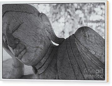 Buddha Face Wood Print by Setsiri Silapasuwanchai