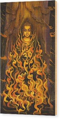 Buddha. Fire Of Meditation Wood Print by Vrindavan Das