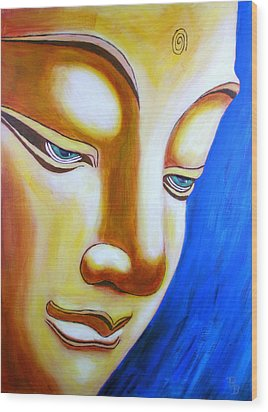 Wood Print featuring the painting Buddha Head Gazing Art by Bob Baker