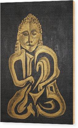 Buddha Metallica Wood Print by Pius Kendakur