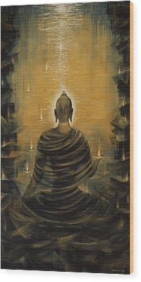 Buddha. Nirvana Ocean Wood Print by Vrindavan Das