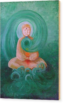 Buddha Painting Wood Print by Avril Whitney