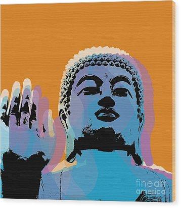 Wood Print featuring the digital art Buddha Pop Art - Warhol Style by Jean luc Comperat