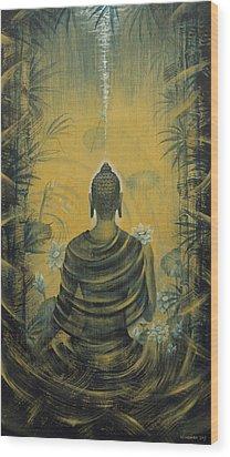 Buddha. Presence Wood Print by Vrindavan Das