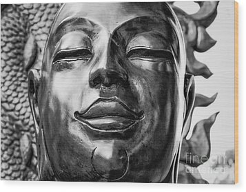 Buddha Smile Wood Print by Dean Harte