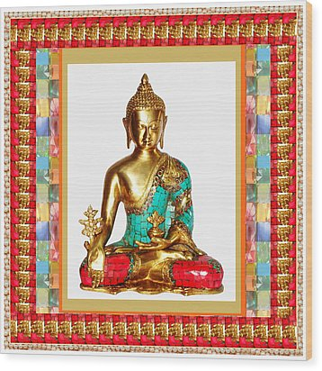 Buddha Sparkle Bronze Painted N Jewel Border Deco Navinjoshi  Rights Managed Images Graphic Design I Wood Print by Navin Joshi