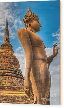 Buddha Statue Wood Print by Adrian Evans