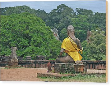 Buddha Statue Wearing A Yellow Sash Wood Print by Sami Sarkis
