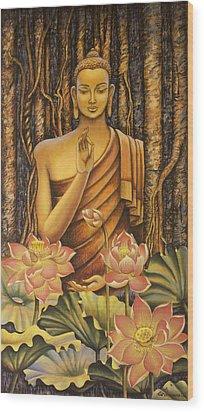 Buddha Wood Print by Vrindavan Das