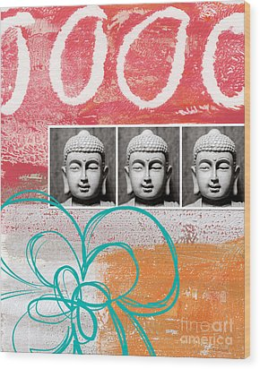 Buddha With Flower Wood Print by Linda Woods