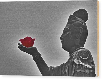 Buddha With Rose  Wood Print