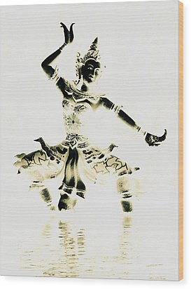 Buddhist Dancer Wood Print by Ramona Johnston