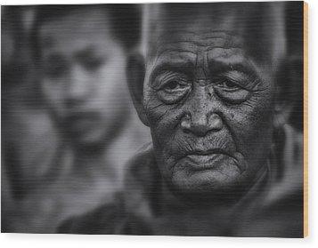 Buddhist Monk Bw1 Wood Print by David Longstreath