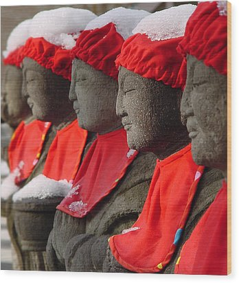Buddhist Statues In Snow Wood Print by Larry Knipfing
