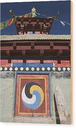 Buddhist Symbol On Chorten - Tibet Wood Print by Craig Lovell