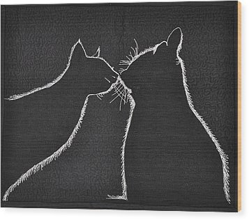 Wood Print featuring the tapestry - textile Buddies by Jo Baner