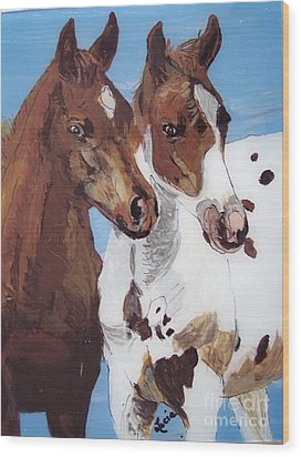 Buddies Wood Print by Lucia Grilletto