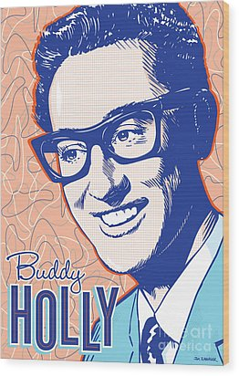 Buddy Holly Pop Art Wood Print