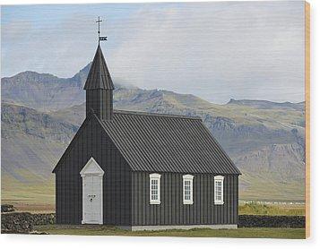 Budir Church Stadarsveit, Snaefellsnes Wood Print by Michael Thornton