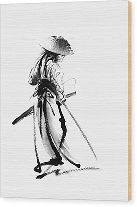 Samurai With A Sword. Ronin - Lone Wolf. Wood Print