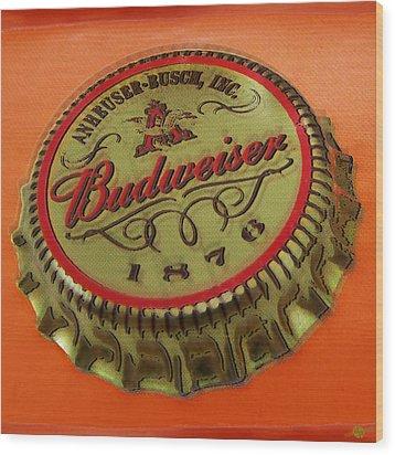 Budweiser Cap Wood Print by Tony Rubino