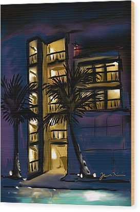Wood Print featuring the painting Buenos Noches Gloria by Jean Pacheco Ravinski