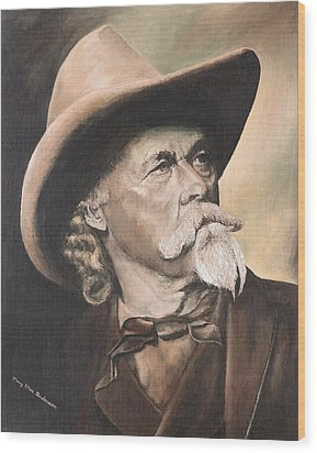 Wood Print featuring the painting Buffalo Bill Cody by Mary Ellen Anderson