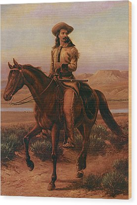 Buffalo Bill On Charlie Wood Print by William Cary
