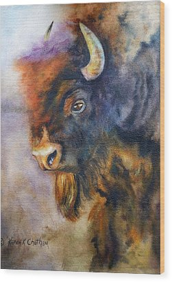 Wood Print featuring the painting Buffalo Business by Karen Kennedy Chatham