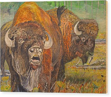 Buffalo Calling Wood Print by Alvin Hepler