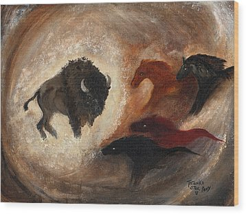 Wood Print featuring the painting Buffalo Dream by Barbie Batson