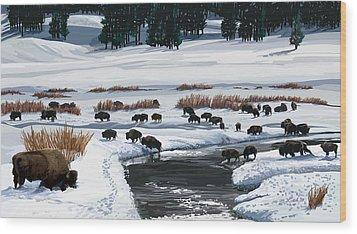 Buffalo Ford Winter Wood Print