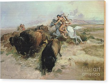 Buffalo Hunt Wood Print by Charles Marion Russell