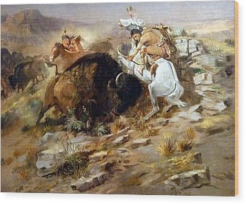 Buffalo Hunt Wood Print by Charles Russell