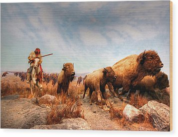 Wood Print featuring the photograph Buffalo Hunt by Larry Trupp