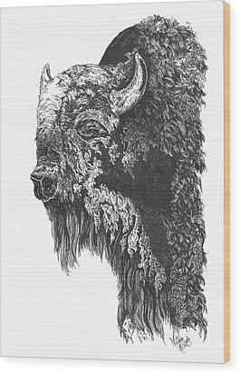 Buffalo In Spring Wood Print