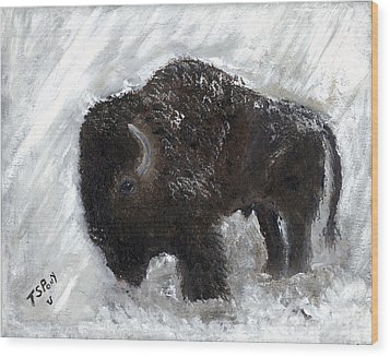 Wood Print featuring the painting Buffalo In The Snow by Barbie Batson