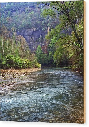 Buffalo River Downstream Wood Print by Marty Koch