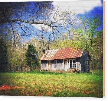 Buffalo River Homestead Wood Print by Marty Koch