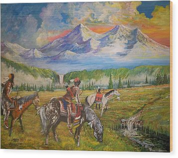 Buffalo Scouts Wood Print