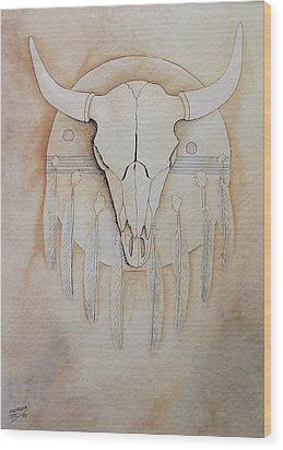 Wood Print featuring the painting Buffalo Shield by Richard Faulkner