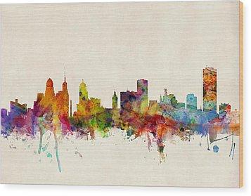 Buffalo Skyline Wood Print by Michael Tompsett