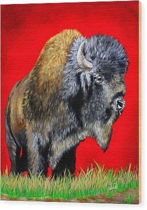 Buffalo Warrior Wood Print