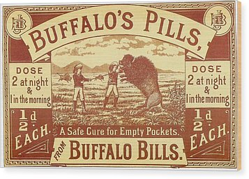 Wood Print featuring the photograph Buffalo's Pills Vintage Ad by Gianfranco Weiss