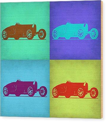 Bugatti Type 35 R Pop Art 1 Wood Print by Naxart Studio