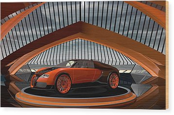 Bugatti Veyron Wood Print by Louis Ferreira