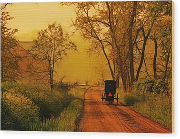 Buggy On A Sunday Morning Drive Batik Wood Print by Laura James
