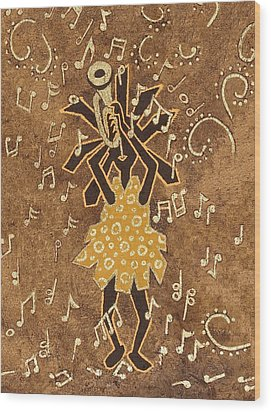 Bugle Player Wood Print by Katherine Young-Beck